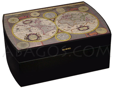 Lacquered Cigar Humidor Mastro de Paja with World Map