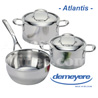 Sarting set Demeyere ATLANTIS luxe series with 18 and 20cm pots and a 20cm conical saucepan  all fire including INDUCTION - stainless steel  PRICE until 31.05.2013 or while supplies last