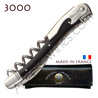 Corkscrew Ch�teau Laguiole 3000 wine waiter´s knife - black horn handle  bright stainless steel bolsters - treaded screw - black leather case