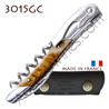 Corkscrew Ch�teau Laguiole GRAND CRU 3015GC waiter - Ram horn handle 2 bright stainless steel bolster - treaded screw - black leather case