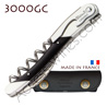 Corkscrew Ch�teau Laguiole GRAND CRU 3000GC waiter - black horn handle bright stainless steel bolsters - treaded screw - black leather case