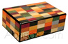 HARLEQUIN [Mastro De Paja S69ARL] humidor 25 cigars - different woods inlay spannish cedar inside externally lacked <br>furnished with humidifier and hygrometer