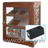 Humidor Don Varga +/- 150 cigars - watered mahogany door and 2 sides with glass - with HUMIDER humidification system and hygrometer