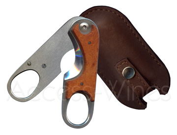 Cigar cutter scissors Guy Vialis stainless steel and briar root