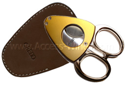 Synchro NICE CREDO Cigar cutters, golded satin stainless steel