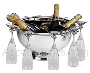 Champagne bowls with stainless steel holder for champagne glasses