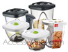 Package [1] of 5 Vacuum food saver boxes VACUVIN  multi usage boxes - 2 boxes of 0·65 l - 2 boxes of 1·35 l - 1 box of 2·30 l  1 big capacity pump
